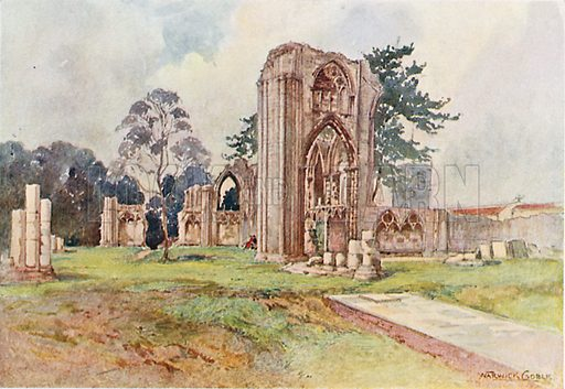 St Mary's Abbey, York. Illustration for The Greater Abbeys of England by Abbot Gasquet (Chatto & Windus, 1908).