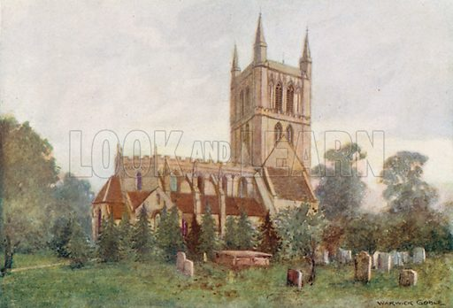 Pershore Abbey. Illustration for The Greater Abbeys of England by Abbot Gasquet (Chatto & Windus, 1908).