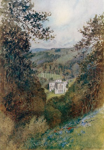 Rievaulx Abbey from the Terrace. Illustration for The Greater Abbeys of England by Abbot Gasquet (Chatto & Windus, 1908).