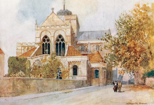 Romsey Abbey. Illustration for The Greater Abbeys of England by Abbot Gasquet (Chatto & Windus, 1908).