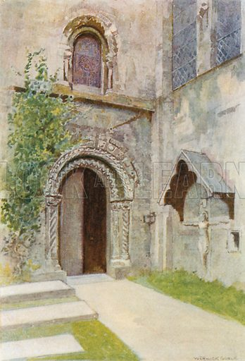 Romsey Abbey: The Nun's Doorway. Illustration for The Greater Abbeys of England by Abbot Gasquet (Chatto & Windus, 1908).