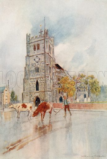 Waltham Abbey. Illustration for The Greater Abbeys of England by Abbot Gasquet (Chatto & Windus, 1908).