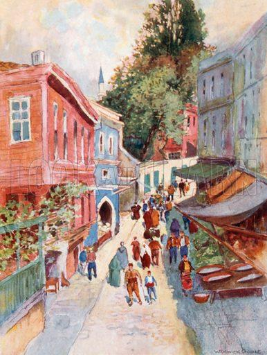 Street Scene, Top-Khaneh. Illustration for Constantinople by Alexander van Millingen (A&C Black, 1906).