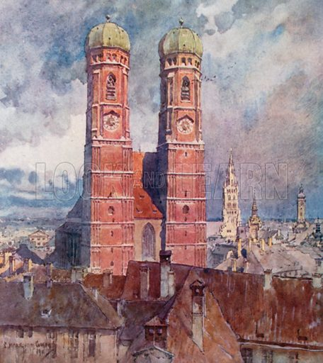 Munich – The Cathedral. Illustration for Germany by JF Dickie (A&C Black, 1912).