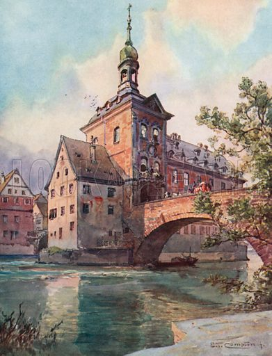 Bamberg – Town Hall. Illustration for Germany by JF Dickie (A&C Black, 1912).