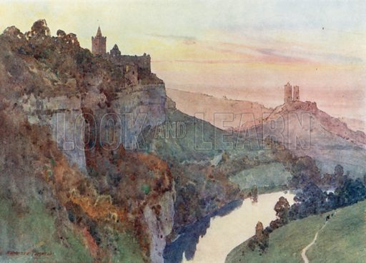 Rudelsburg and Saaleck. Illustration for Germany by JF Dickie (A&C Black, 1912).