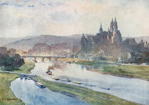 Meissen from the Elbe. Illustration for Germany by JF Dickie (A&C Black, 1912).