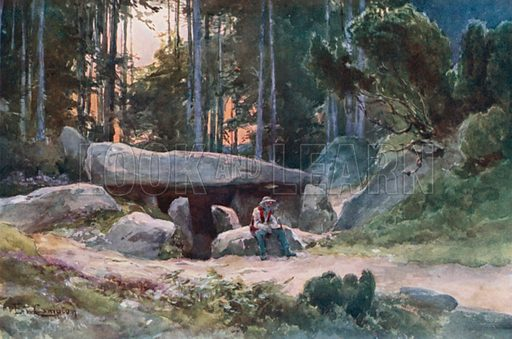 Dolmen in the Luneburger Haide. Illustration for Germany by JF Dickie (A&C Black, 1912).