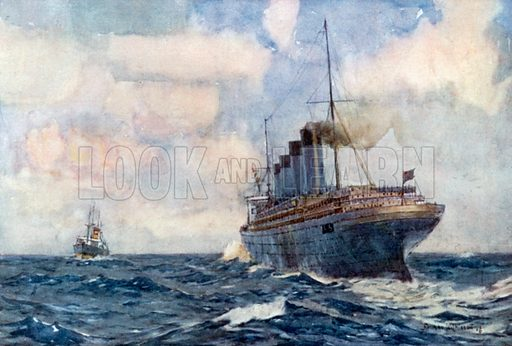 S. S. Lusitania as an Auxiliary Cruiser in Warfare. Illustration for The Royal Navy by H Lawrence Swinburne (A&C Black, c 1907).