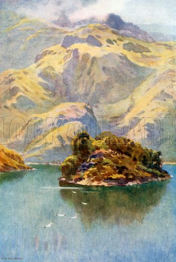 Ellen's Isle, Loch Katrine. Illustration for Beautiful Scotland (Blackie, c 1910).