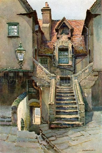 In White Hourse Close. Illustration for Beautiful Scotland (Blackie, c 1910).