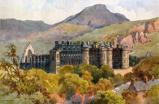 Holyrood Palace: Arthur's Seat in the Background. Illustration for Beautiful Scotland (Blackie, c 1910).