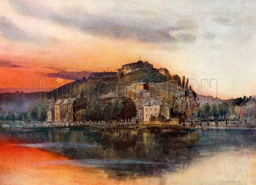 General View of Namur and its Citadel. Illustration for Belgium the Glorious (Hutchinson, c 1920).