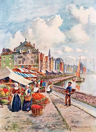 On the Quays of the Meuse, Liege. Illustration for Belgium the Glorious (Hutchinson, c 1920).
