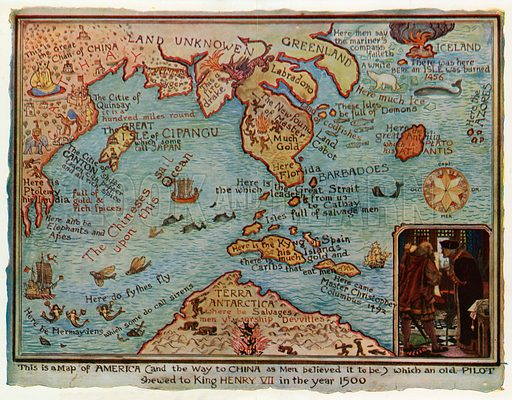 Map Of England In 1500.An Imaginary Map Of America 1500 Look And Learn History Picture