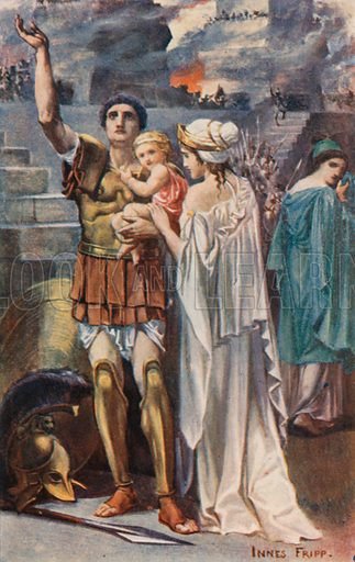 Hector and Andromache. Illustration for Tales of the Gods and Heroes by GW Cox (Thomas Nelson, c 1910).