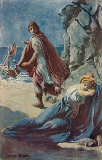 Theseus and Ariadne. Illustration for Tales of the Gods and Heroes by GW Cox (Thomas Nelson, c 1910).