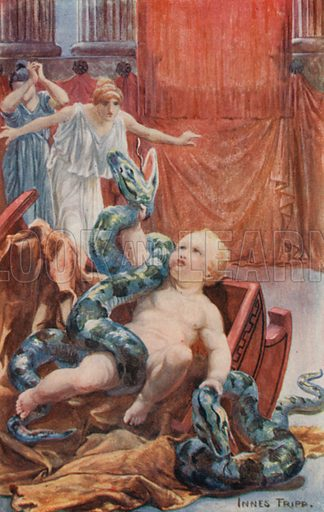 Hercules and the Serpent. Illustration for Tales of the Gods and Heroes by GW Cox (Thomas Nelson, c 1910).