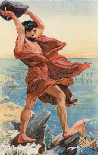 Odysseus and Polyphemus. Illustration for Tales of the Gods and Heroes by GW Cox (Thomas Nelson, c 1910).