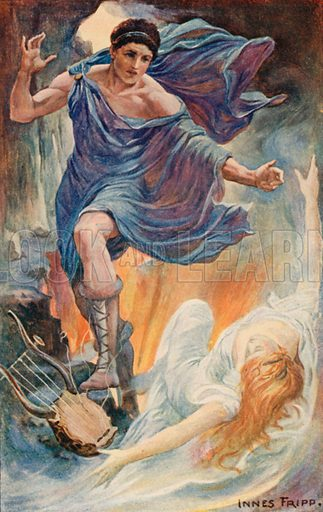 Opheus and Eurydice. Illustration for Tales of the Gods and Heroes by GW Cox (Thomas Nelson, c 1910).