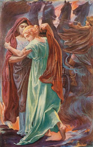 Demeter and Persephone. Illustration for Tales of the Gods and Heroes by GW Cox (Thomas Nelson, c 1910).