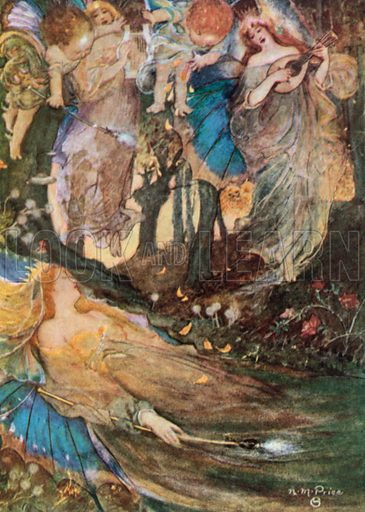 Titania Sleeps. A Midsummer Night's Dream – Act II, Scene 2. Illustration for The Windsor Shakespeare edited by Henry Hudson (Caxton, c 1925).