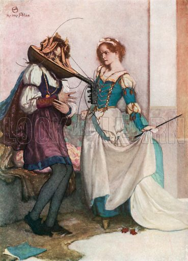 The Gentle Katherine. The Taming of the Shrew – Act II, Scene 1. Illustration for The Windsor Shakespeare edited by Henry Hudson (Caxton, c 1925).