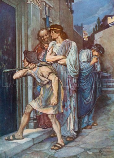 """Dromio of Ephesus, """"Let my Master in!"""" The Comedy of Errors – Act III, Scene 1. Illustration for The Windsor Shakespeare edited by Henry Hudson (Caxton, c 1925)."""