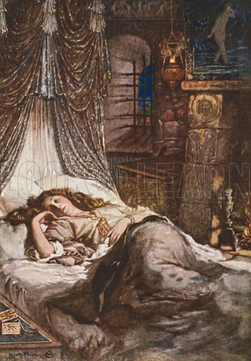 Imogen's Bed Chamber. Cymbeline – Act II, Scene 2. Illustration for The Windsor Shakespeare edited by Henry Hudson (Caxton, c 1925).