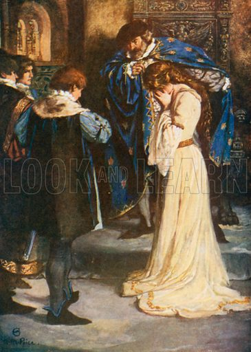 "King ""Why, then, Young Bertram take her; She's Thy Wife"". All's Well that Ends Well – Act II, Scene 3. Illustration for The Windsor Shakespeare edited by Henry Hudson (Caxton, c 1925)."