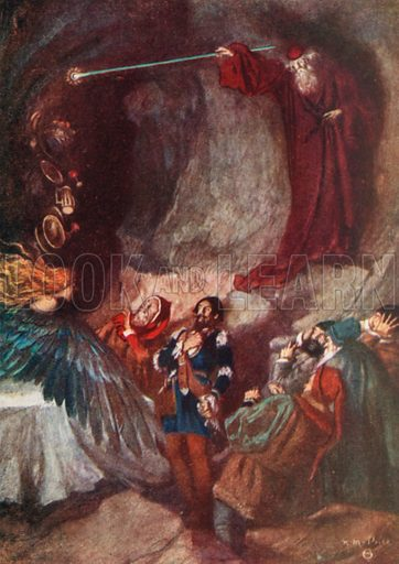 The Feast Vanished away. The Tempest – Act III, Scene 3. Illustration for The Windsor Shakespeare edited by Henry Hudson (Caxton, c 1925).