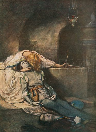 Romeo and Juliet. Romeo and Juliet – Act V, Scene 3. Illustration for The Windsor Shakespeare edited by Henry Hudson (Caxton, c 1925).