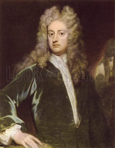 Joseph Addison, portrait.  Illustration for English Essayists by Bonamy Dobree (Collins, 1946).  Only suitable for repro at small size.