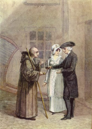 An illustration to A Sentimental Journey by Laurence Sterne.  Yorik, the Monk and Madame L, in the inn courtyard at Calais.  Illustration for English Novelists by Elizabeth Bowen (Collins, 1942).  Only suitable for repro at small size.