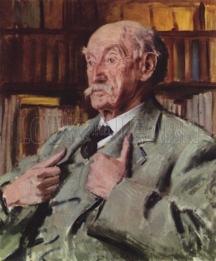 Thomas Hardy.  Illustration for English Novelists by Elizabeth Bowen (Collins, 1942).  Only suitable for repro at small size.