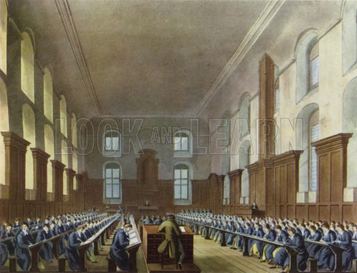 Writing School, Christ's Hospital, 1816.  Illustration for English Public Schools by Rex Warner (Collins, 1946).