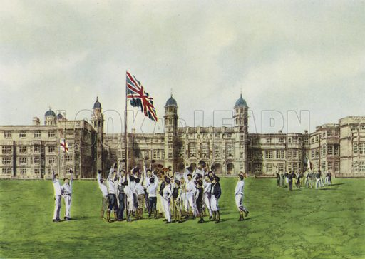 Stonyhurst College, Cheering the Flag.  Illustration for English Public Schools by Rex Warner (Collins, 1946).