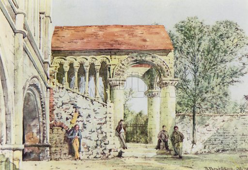 Norman Staircase, King's School, Canterbury.  Illustration for English Public Schools by Rex Warner (Collins, 1946).