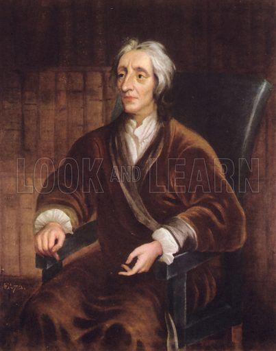John Locke, portrait.  Illustration for British Philosophers by Kenneth Matthews (Collins, 1943).   Only suitable for repro at small size.