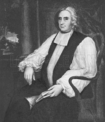George Berkeley, portrait.  Illustration for British Philosophers by Kenneth Matthews (Collins, 1943).   Only suitable for repro at small size.