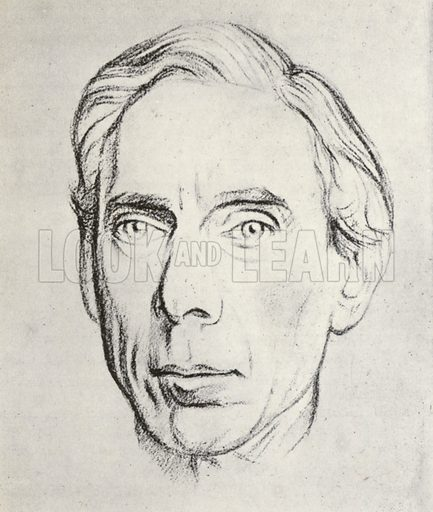 Bertrand Russell.  Illustration for British Philosophers by Kenneth Matthews (Collins, 1943).   Only suitable for repro at small size.