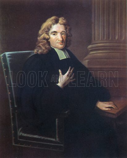 John Flamsteed, portrait.  Illustration for British Scientists by Sir Richard Gregory (Collins, 1941).  Only suitable for repro at small size.