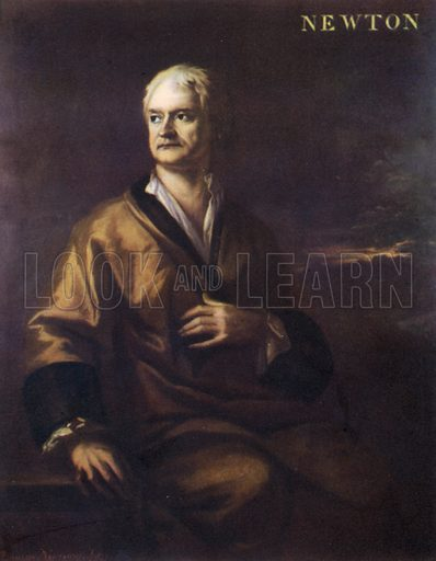 Sir Isaac Newton, portrait.  Illustration for British Scientists by Sir Richard Gregory (Collins, 1941).  Only suitable for repro at small size.