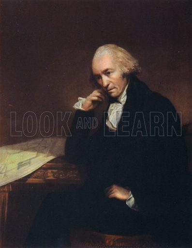 James Watt, portrait.  Illustration for British Scientists by Sir Richard Gregory (Collins, 1941).  Only suitable for repro at small size.