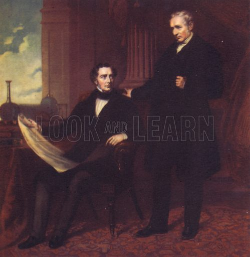 Robert and George Stephenson, portraits. Illustration for British Scientists by Sir Richard Gregory (Collins, 1941).  Only suitable for repro at small size.