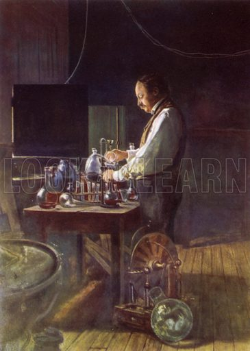 Lord Rayleigh in his laboratory.  Illustration for British Scientists by Sir Richard Gregory (Collins, 1941).  Only suitable for repro at small size.