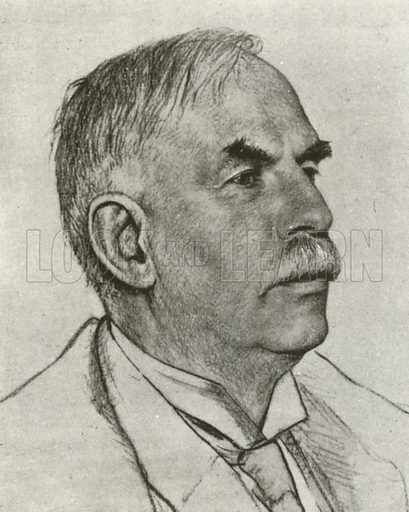 Lord Rutherford, portrait.  Illustration for British Scientists by Sir Richard Gregory (Collins, 1941).  Only suitable for repro at small size.