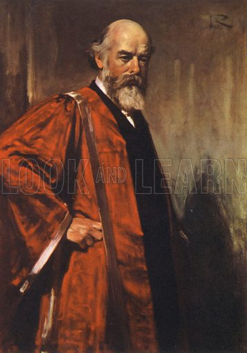 Sir Oliver Lodge, portrait.  Illustration for British Scientists by Sir Richard Gregory (Collins, 1941).  Only suitable for repro at small size.