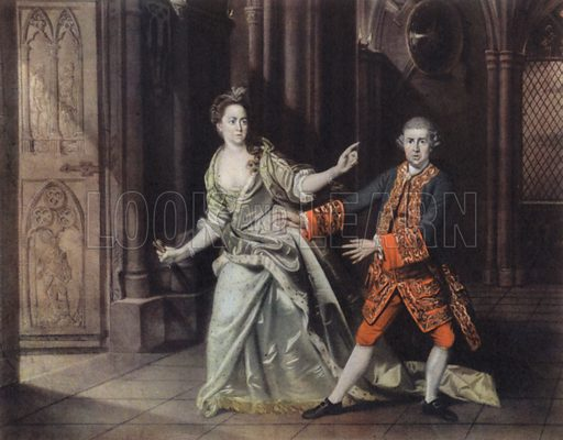 David Garrick and Mrs Pritchard as Macbeth and Lady Macbeth.  Illustration for The British Theatre by Bernard Miles (Collins, 1948).  Only suitable for repro at small size.