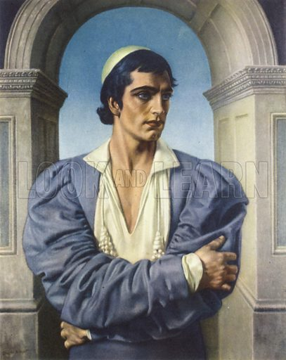 Laurence Olivier as Romeo, 1936.  Illustration for The British Theatre by Bernard Miles (Collins, 1948).  Only suitable for repro at small size.